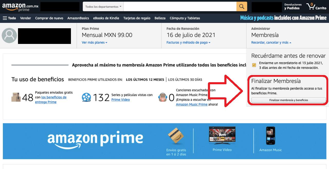 cancelar amazon prime planes suscripción premium