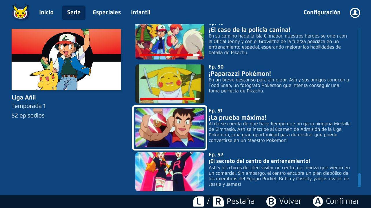 Aplicación Pokemon TV nintendo anime aplicación