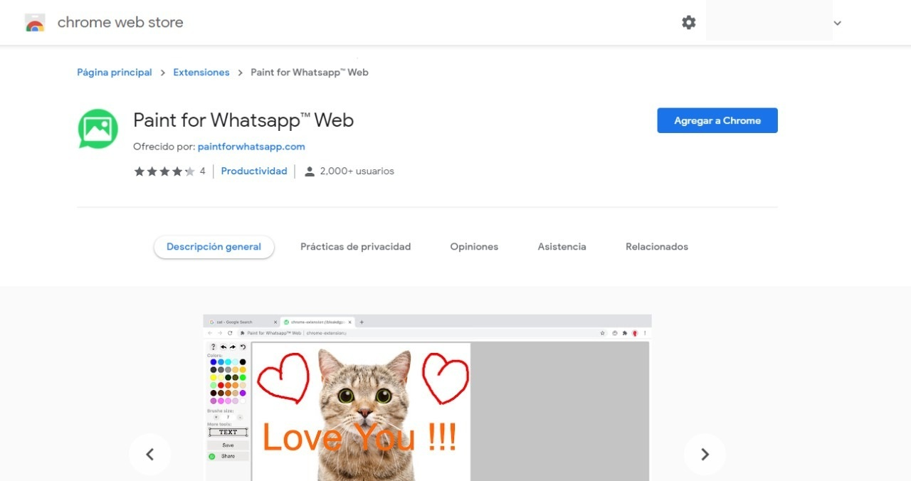 paint whatsapp web chrome extensión función