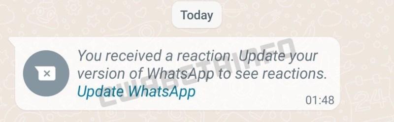 whatsapp reacciones mensajes actualización