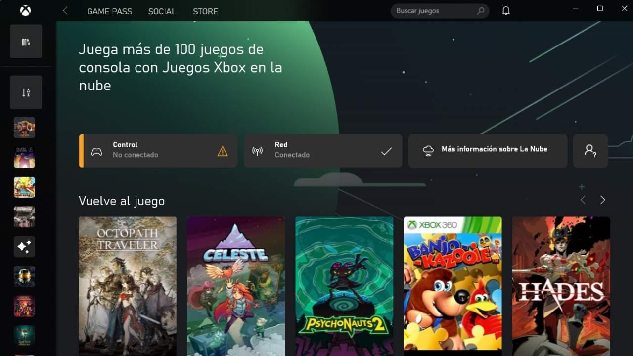 aplicación Game Pass Xbox Cloud Gaming