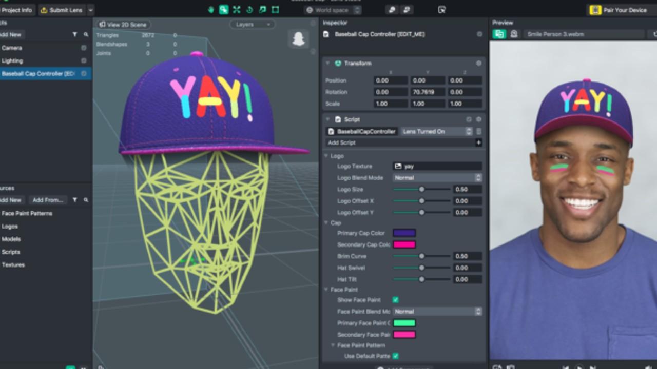 Snapchat lens studio programa software