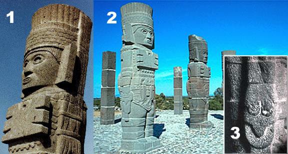 Esculturas en localidad de Tula, México. Atribuidas a antiguos seres Atlantes.