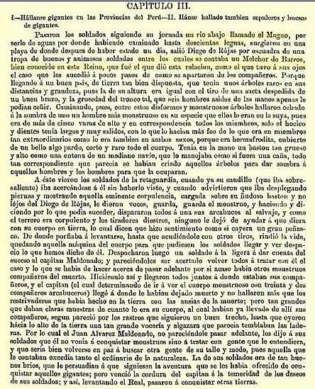 Crónica correspondiente a Fray Pedro Simón que localiza Gigantes en el centro del río Madre de Dios.