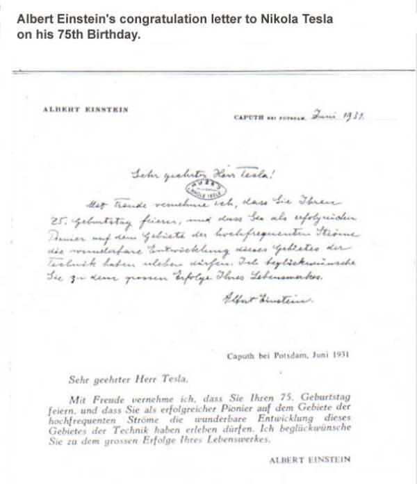 Carta de Albert Einstein a Nikola Tesla