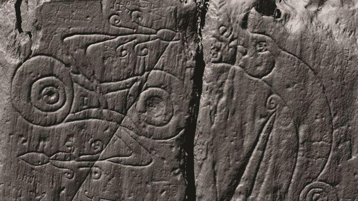 Una imagen de barrido con láser de los símbolos pictos talladas.