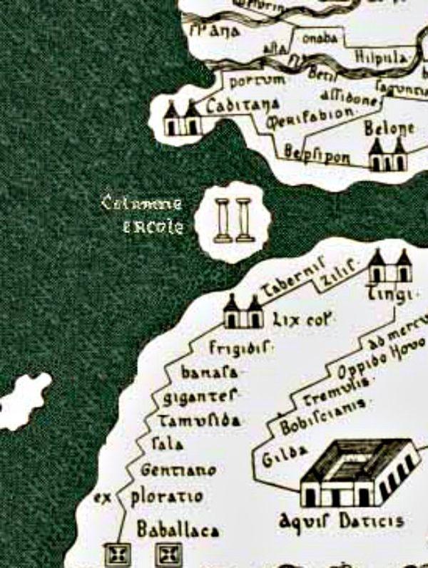 Detalle de la supuesta ubicación de las Columnas de Hércules en el mapa conocido como Tabula Peutingeriana (siglos I-IV) recopilado por Conrado Millieri en 1887.