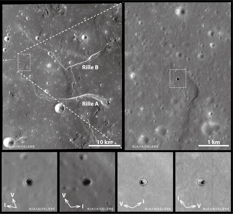 Images of the Marius Hills trench, as observed under different conditions of solar lighting by the SELENE / Kaguya Terrain Camera and Multiband Imager