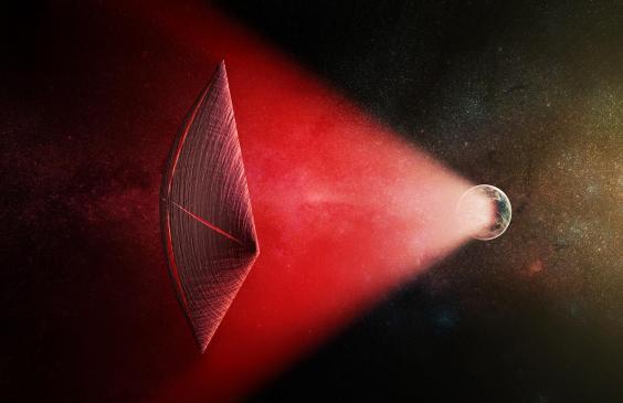 Impresión artística de una vela de luz con un haz de radio generado en la superficie de un planeta. Las fugas de la luz podrían explicar las explosiones de radio rápidas (FRB)