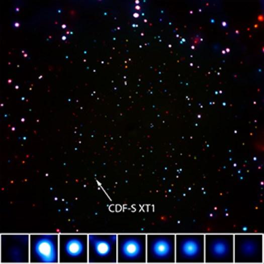 Región del cielo donde se descubrió la fuente de rayos X llamada CDF-S XT1. El punto está marcado con una flecha blanca. La serie de imágenes a lo largo de la parte inferior muestra la variabilidad de la fuente de rayos X a lo largo del tiempo (el tiempo se incrementa de izquierda a derecha, prolongándose a lo largo de un periodo de unas pocas horas.