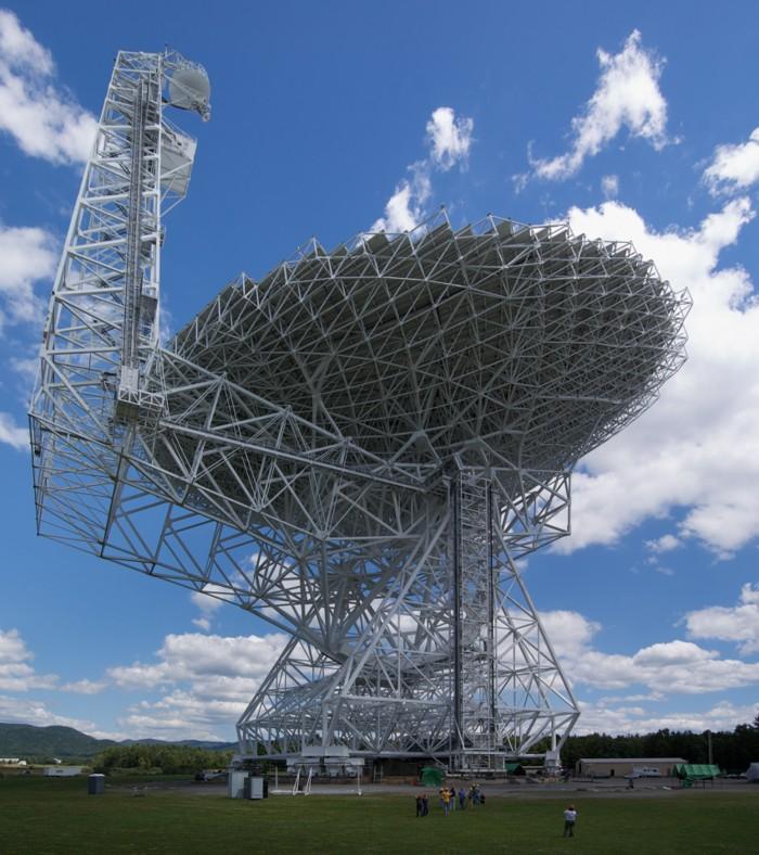 The Robert C. Byrd Green Bank telescope, a 100 meter diameter radio telescope located in Green Bank, West Virginia, USA alien signals