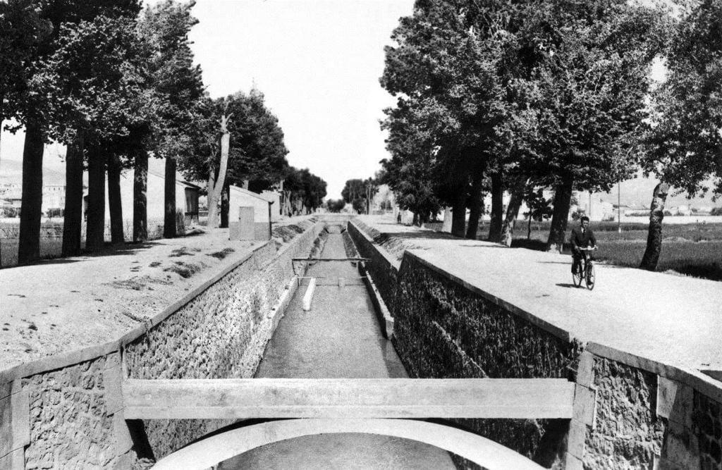 A la derecha de lo que antes era un canal de riego, y en lo que parece un día soleado, mi abuelo monta en bicicleta sin saber que está siendo retratado.
