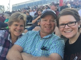 Football game in September with my parents