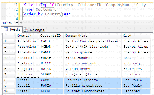 SQL Order By with Top 10