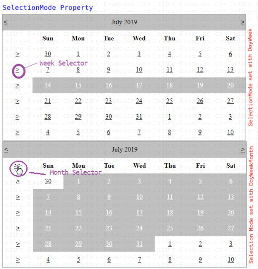 Selecting a Week and Month from Calendar Control using SelectionMode Property