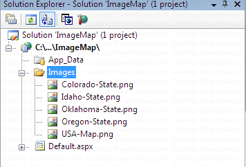 Solution Explorer after the copy of all the Images