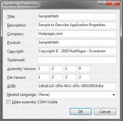 Assembly Information Dialog