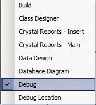 Picking Debugging Toolbar