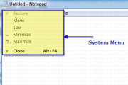 System Menu Of the Notepad