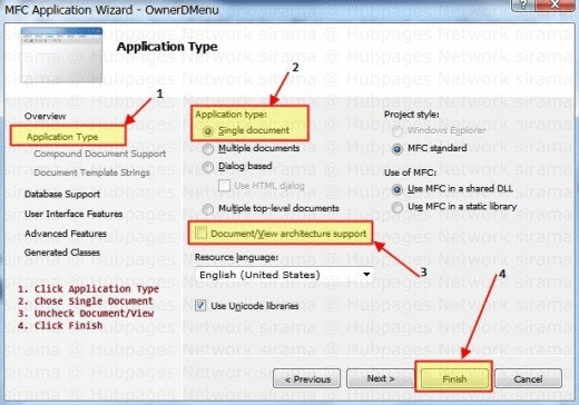 Creating MFC SDI Application for Owner Drawn Menu Example
