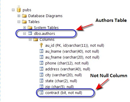 Not Null Constraint of contract Column