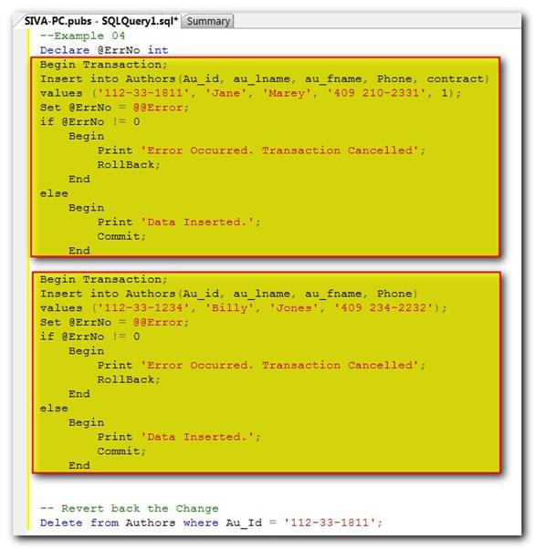 SQL Server Explicit Transaction Example