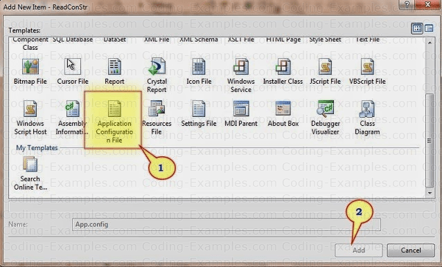 AppConfig File in C# Add New Item Dialog