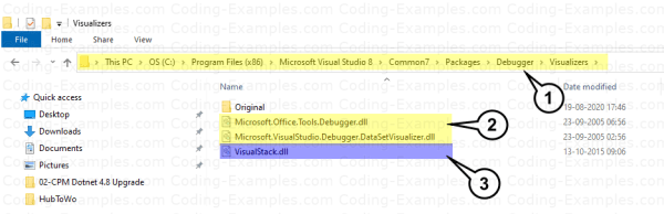 Path to Deploy Our Custom Debug Visualizer (For 32 bit remove x86 in the path)