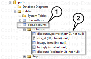 Discounts Table in Pubs DB