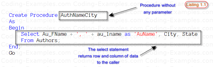 Stored procedure without parameter
