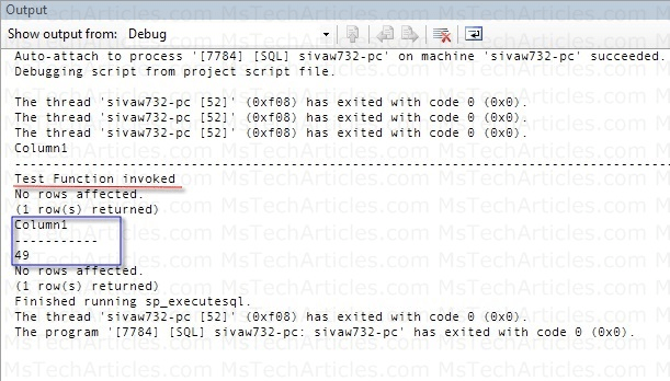 SQL-CLR Function Result in Output Window