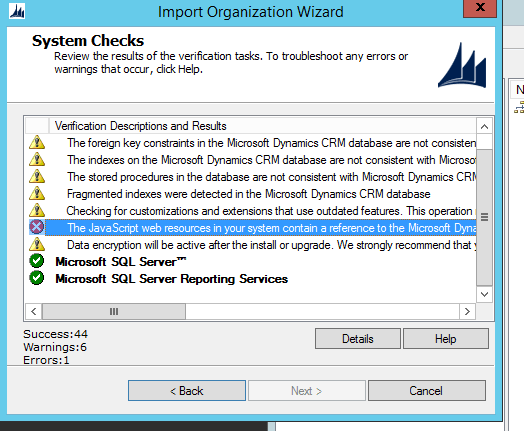 CRM 2015: Organization import stops because of JavaScript errors? Check out this workaround!