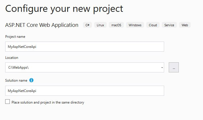 Create ASP.NET Core Web Application Folder