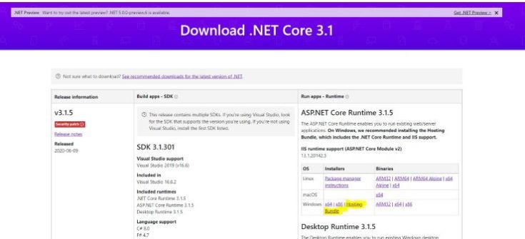 Download .Net Core Runtime 3.1