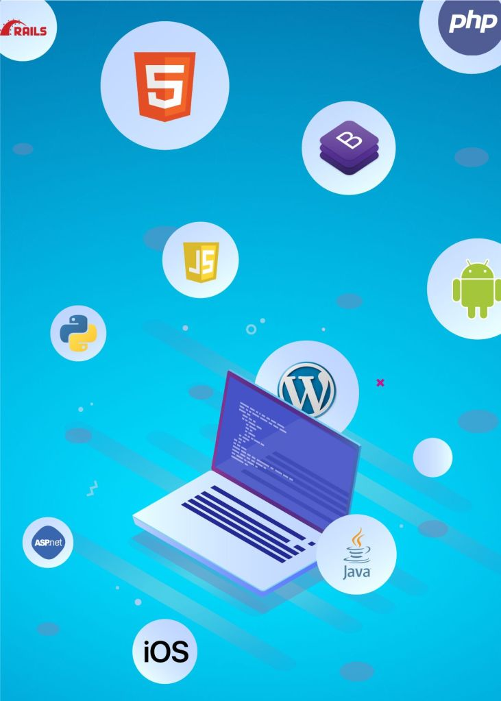 various programming language such as java python wordpress php ios .net android bootstrap surrounding a laptop