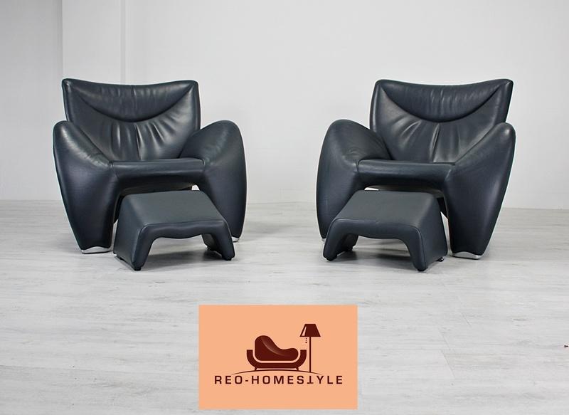2 X Leolux Echnaton Sessel Designer Couch Sofa Leder Dunkelblau Echtleder  eBay