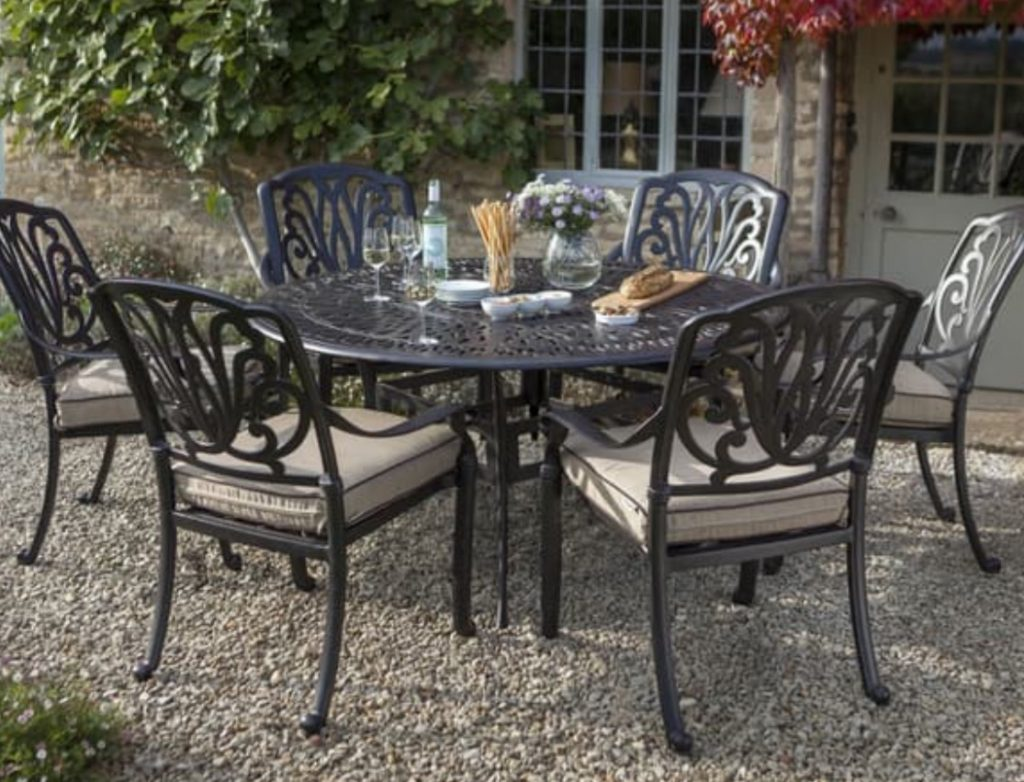 Patio Furniture Table And Chairs Hartman Amalfi Comfort 6 Seat Round Table Set