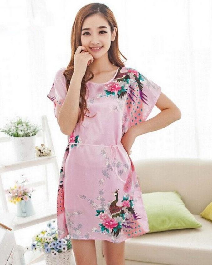 Peacock Printed Silk Nightgown