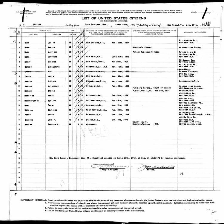 passenger manifest April 1932 suicide