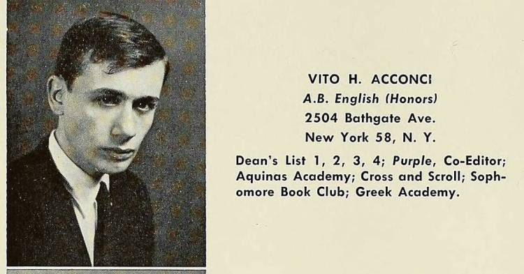 Happy Birthday Vito Acconci, College of the Holy Cross, 1962