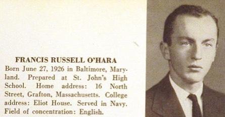 Frank O'Hara, Harvard, 1950