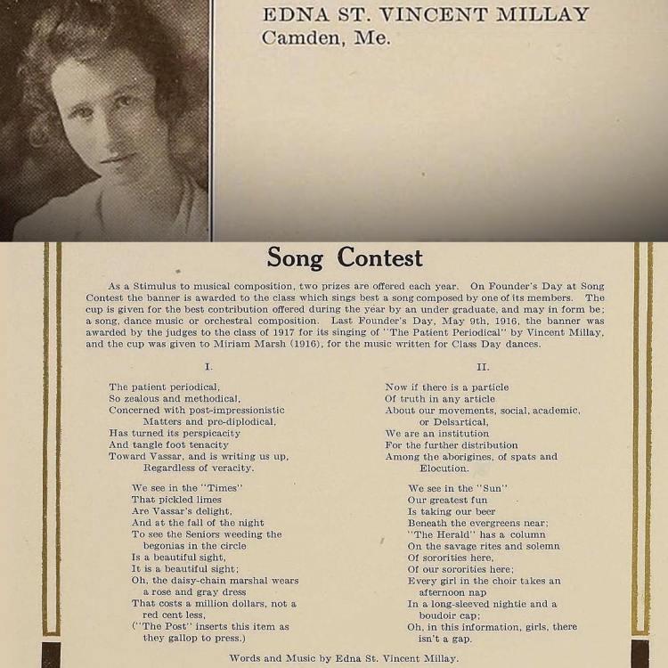 Happy birthday Edna St Vincent Millay, Vassar 1917