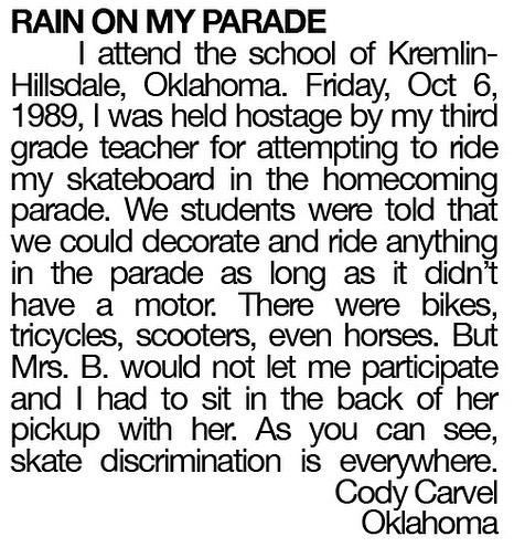 My letter to Thrasher, February 1990. Peaked too soon.
