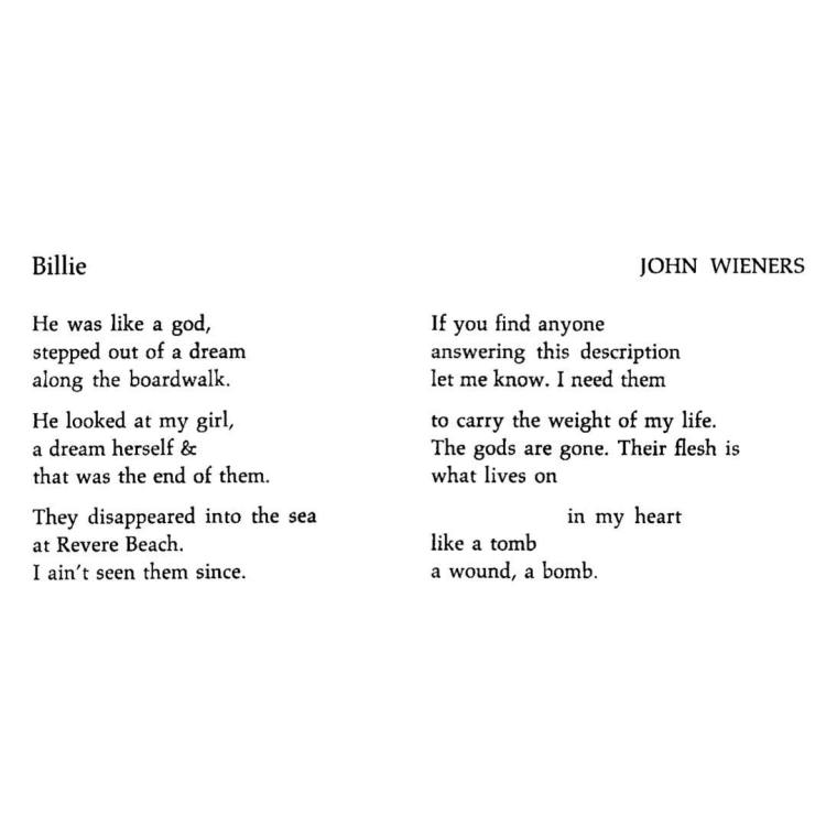 Billie by John Wieners, from the Journal of Creative Behavior, I.2 (1967)