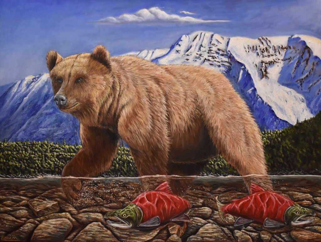 oil painting of grizzly bear and salmon in a stream with snow-capped peaks