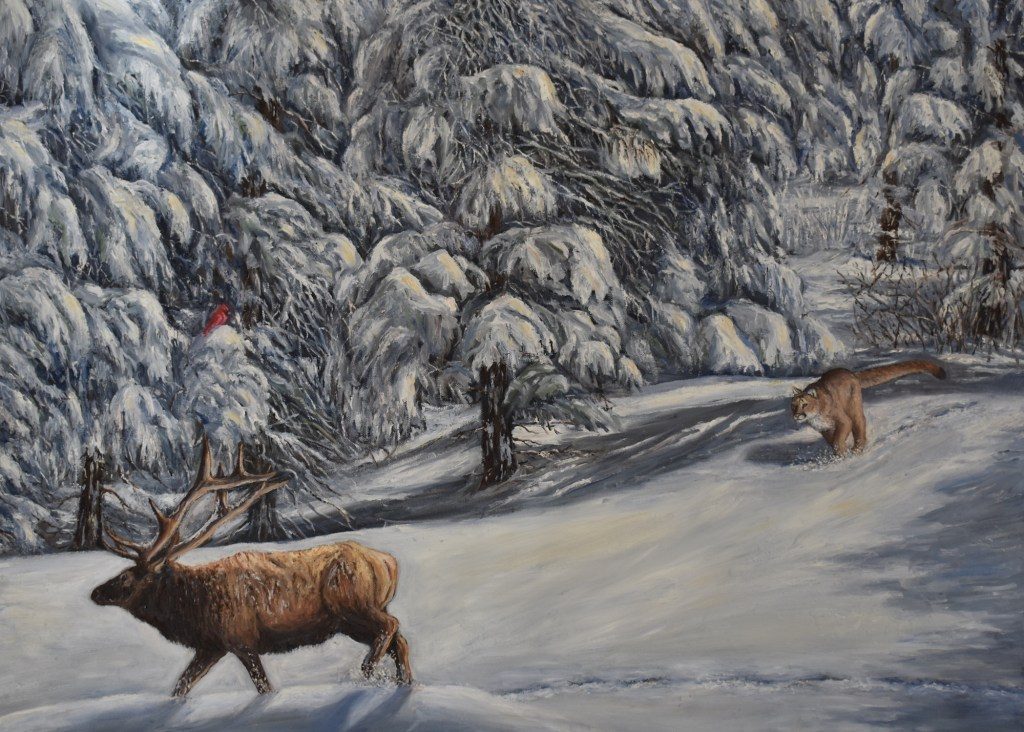 oil painting of mountain lion or cougar chasing an elk