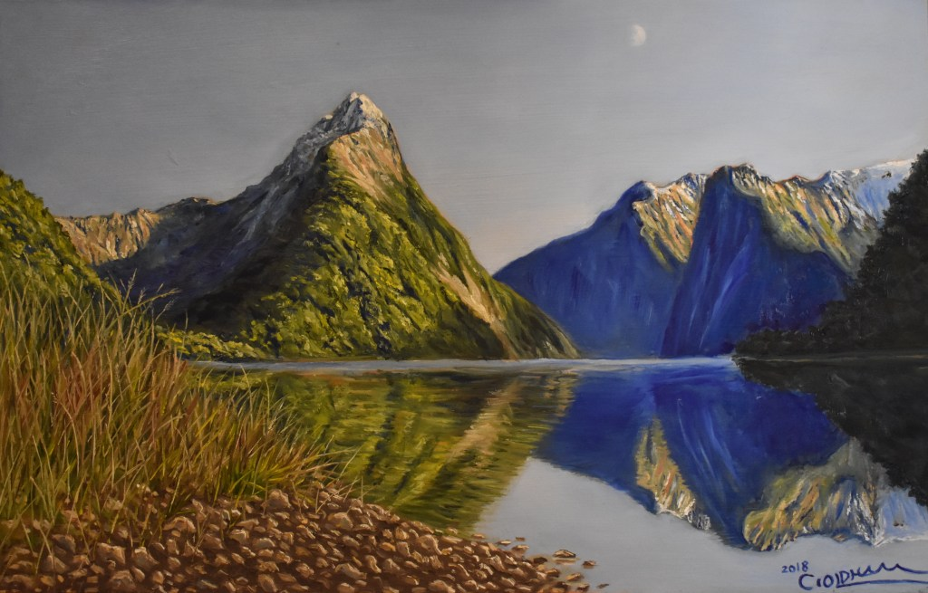 Oil painting of Milford Sound in New Zealand landscape by Cody Oldham