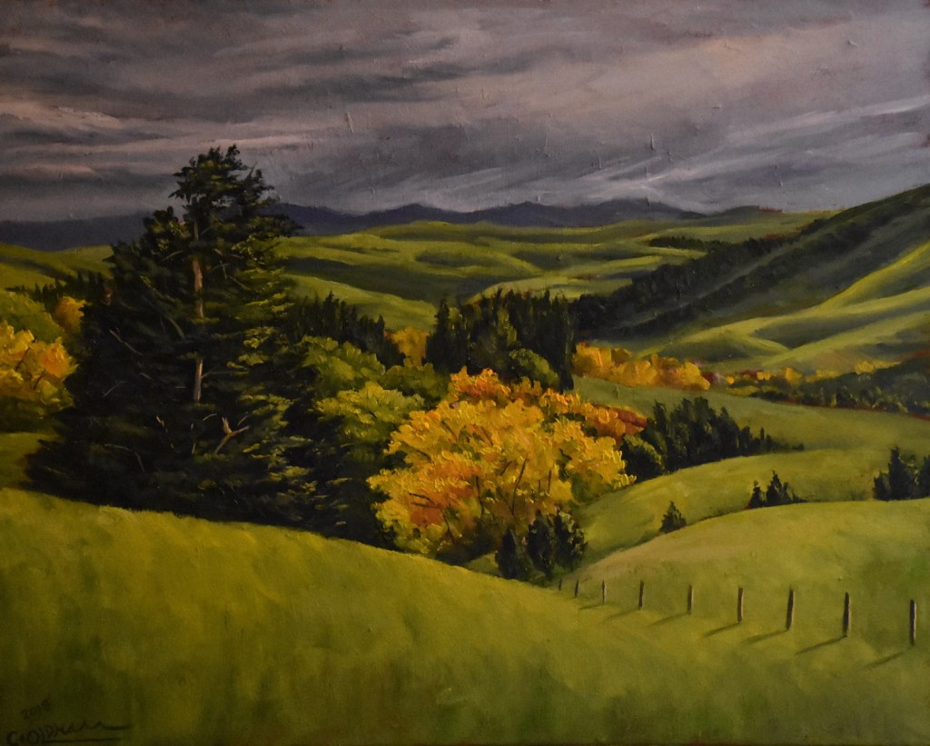 Oil painting of landscape with rolling hills and yellowing leaves in autumn by Cody Oldham