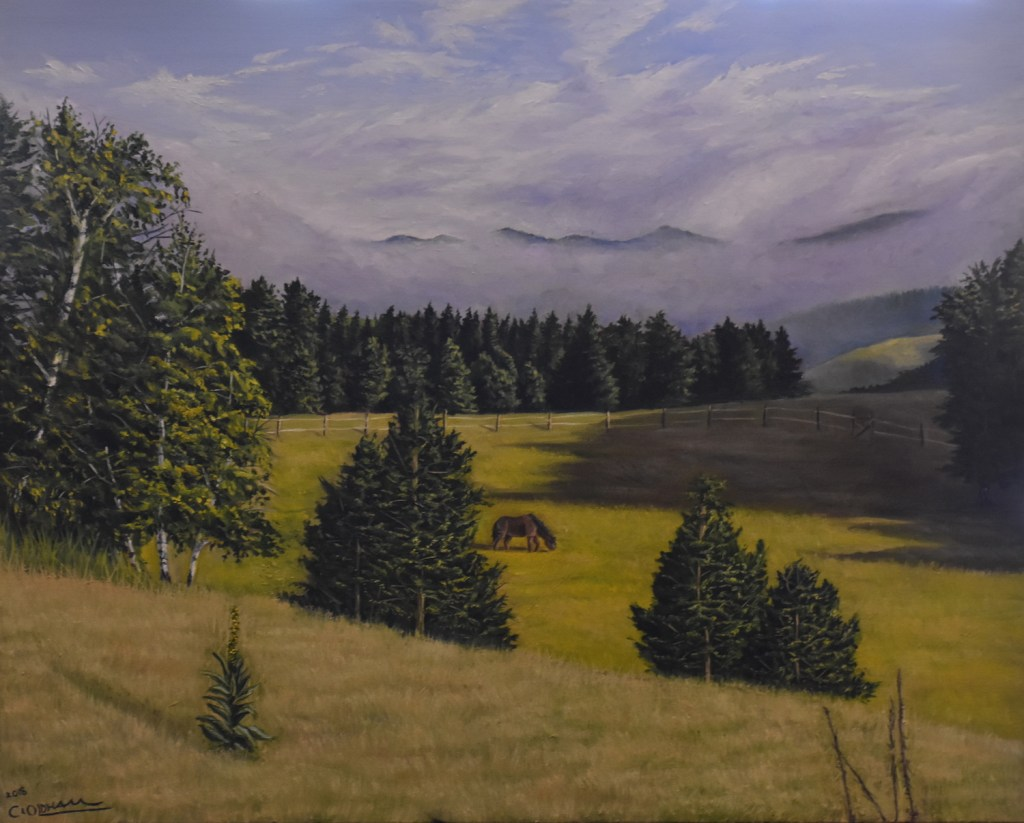 Oil painting of horse grazing in a mountain meadow by Cody Oldham