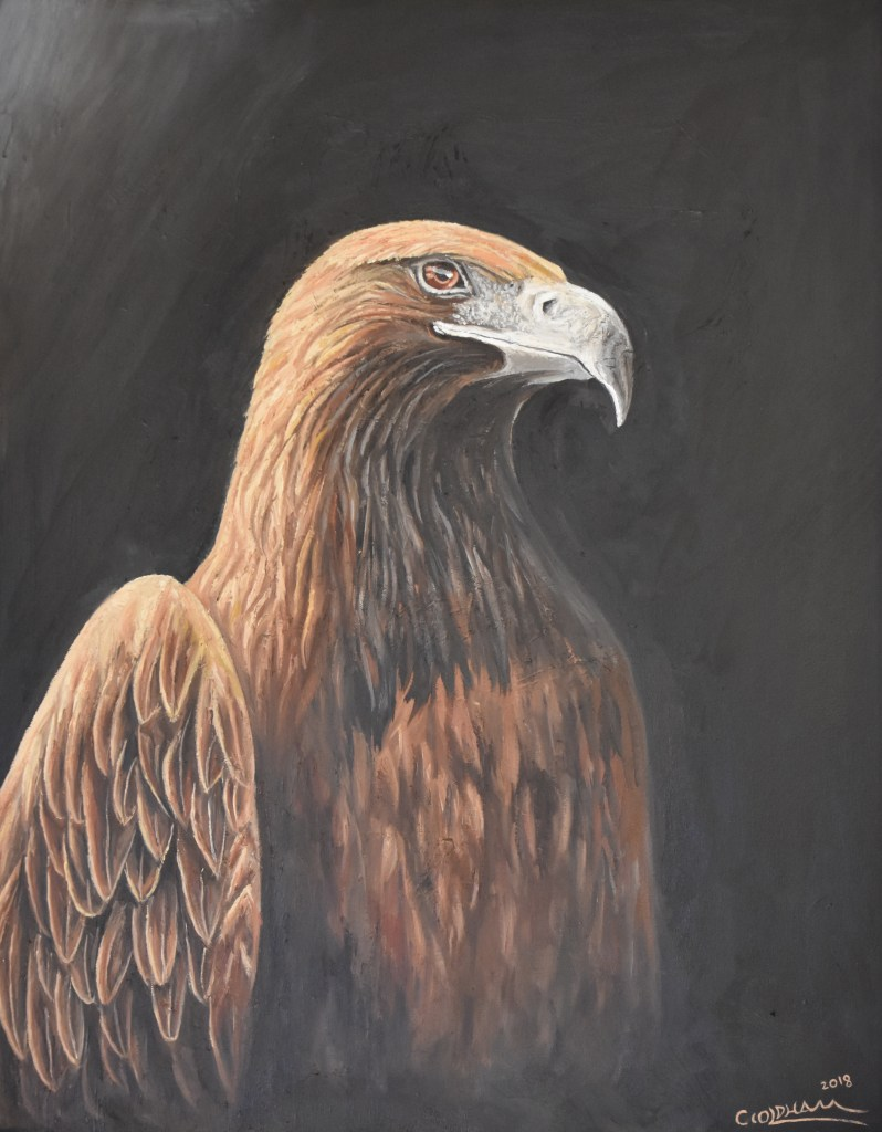 Oil painting of golden eagle portrait by Cody Oldham